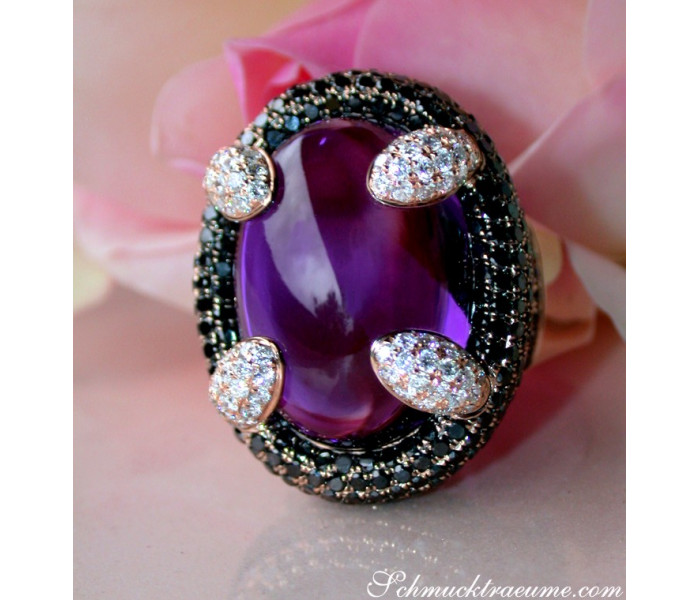 Unique Amethyst Ring with Black and White Diamonds