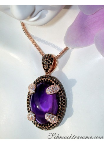Unique Amethyst Pendant with Black and White Diamonds