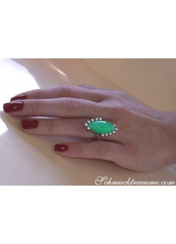 Chrysopras Ring mit Brillanten