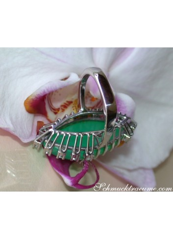 Terrific Chrysoprase Ring with Diamonds