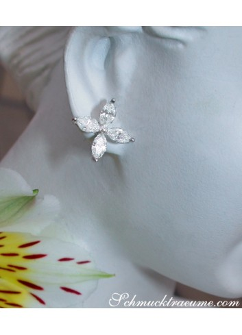 Finest Marquise Diamond Studs (Star / Blossom Style)