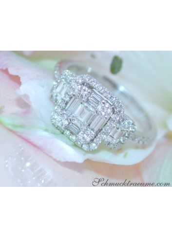 Feminine Diamond Square Ring