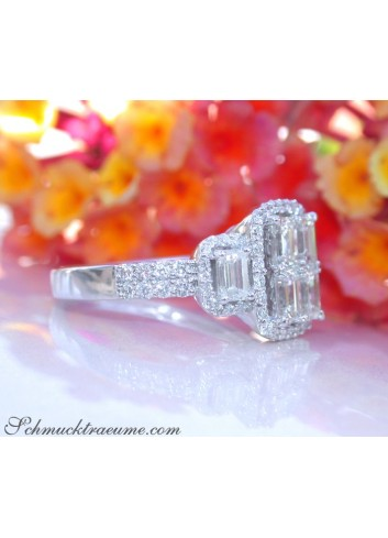 Tremendous Diamond Ring with Emerald Cut Diamonds