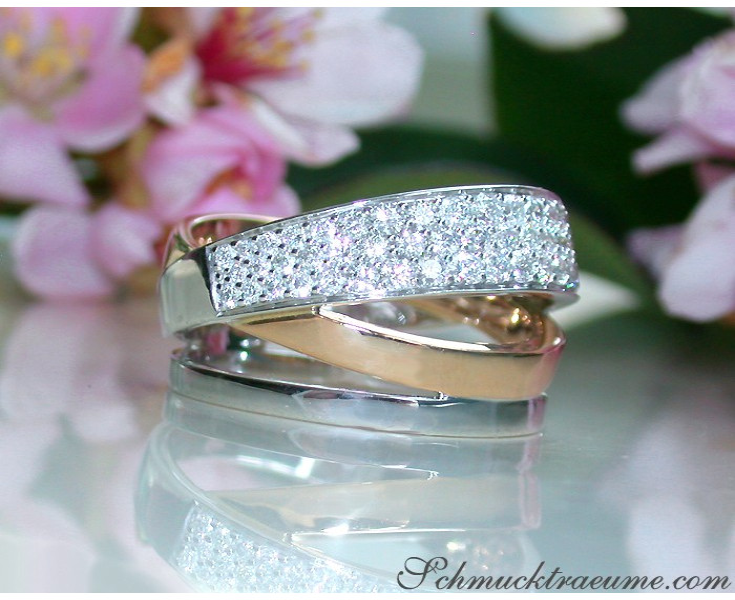 Multirow Diamond Ring in Rosegold and Whitegold 18k