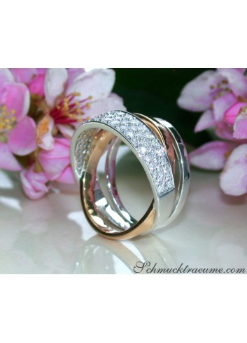 Multirow Diamond Ring in Rosegold and Whitegold 18k