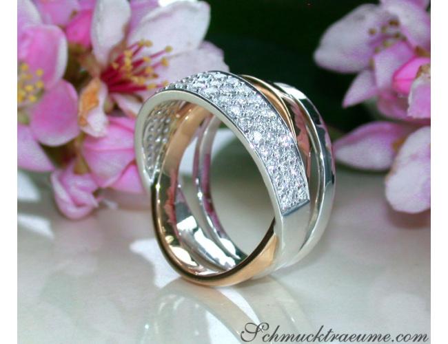 Mehrreihiger Diamanten Ring in Weißgold und Roségold