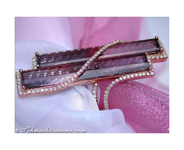 Striking Pink Tourmaline Ring with Diamonds