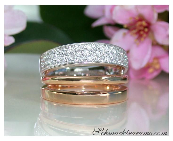 Mehrreihiger Brillanten Ring in Weißgold und Roségold