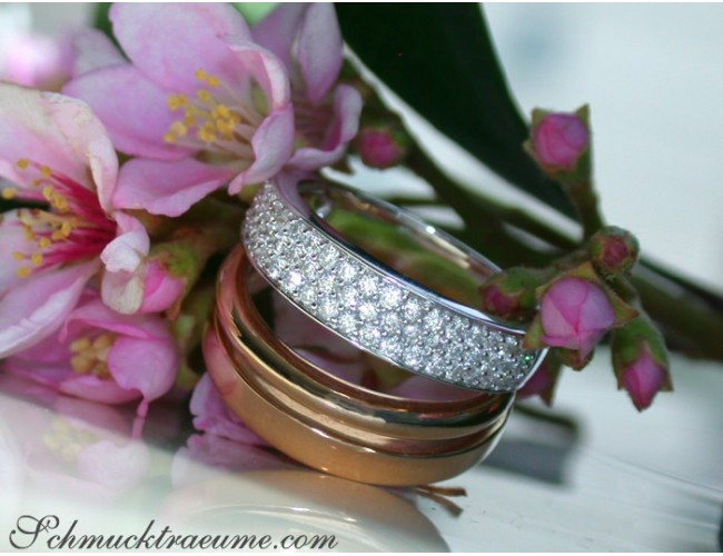Pretty Multirow Diamond Ring in Rose & White Gold