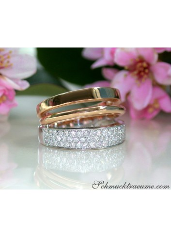 Pretty Multirow Diamond Ring in Rose & White Gold