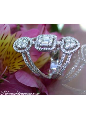 Ausgefallener Diamanten Ring in Weißgold