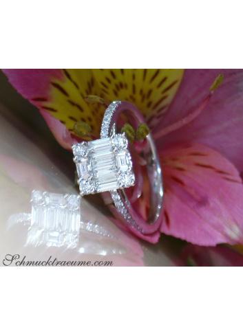 Brillant Ring mit Diamanten im Baguette Schliff