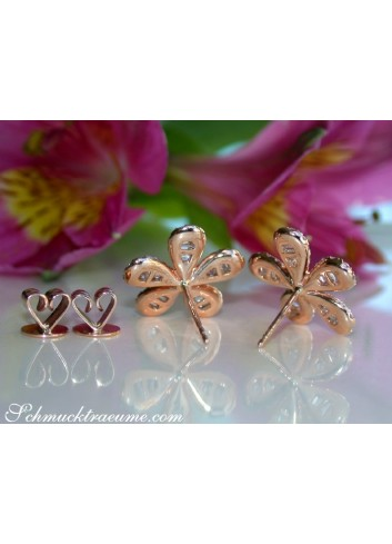 Precious Diamond Flower Earrings in Rose gold 14k