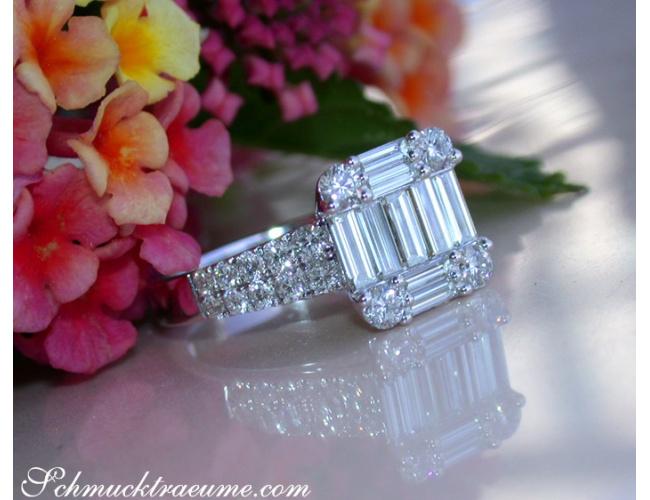 Tremendous Diamond Ring with extra long Baguette Diamonds