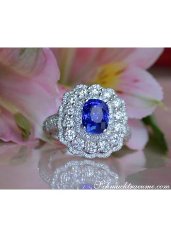 Ceylon Saphir Ring mit Diamanten in Weißgold 750
