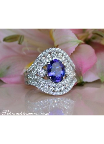 Feinster AAA Tansanit Ring mit Diamanten in Weißgold 750