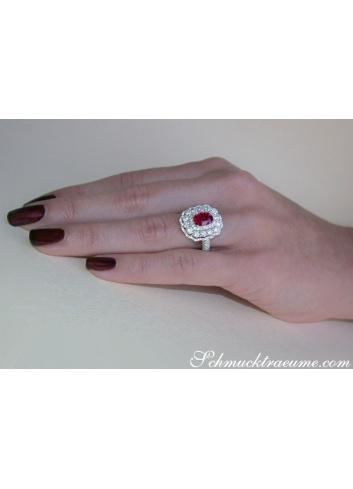 Rubin Ring mit Diamanten in Weißgold 750