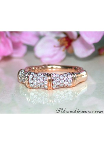 Diamanten Ring im Bambus Design in Roségold 750
