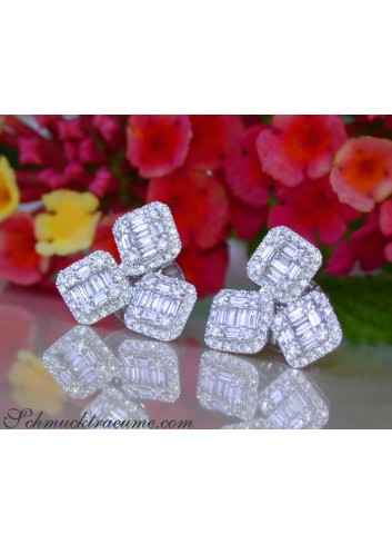 Precious Square Style Diamond Earrings