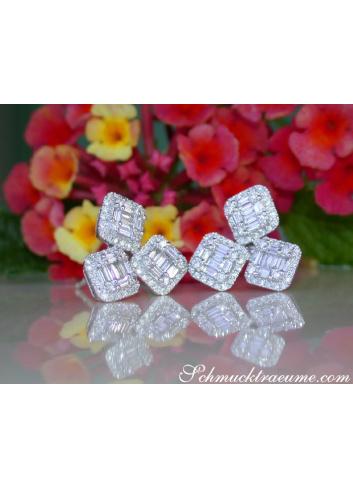 Ausgefallene Diamant Ohrringe in Weißgold 750