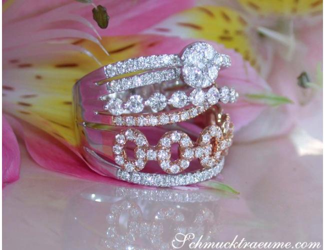 Mehrreihiger Brillant Ring in Weißgold und Roségold 750