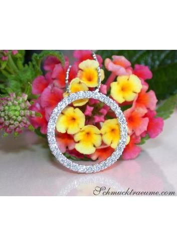 Diamant Kreis Anhänger in Weißgold 750