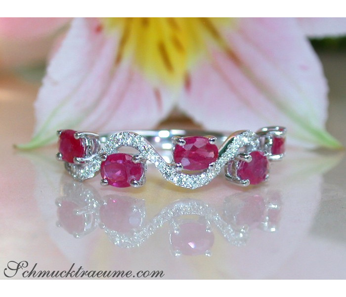 Delicate Ruby Ring with Diamonds