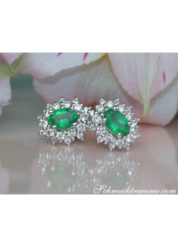 Classy Emerald Stud Earrings with Diamonds