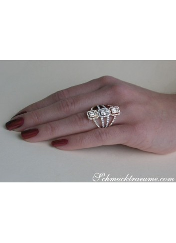Striking Diamond Triple Square Ring (Tricolor Finish)