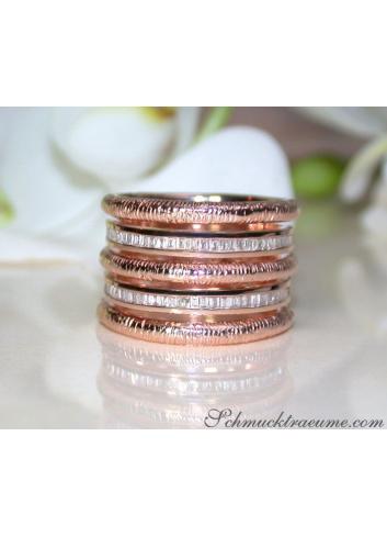 Breiter Roségold Ring mit Diamanten