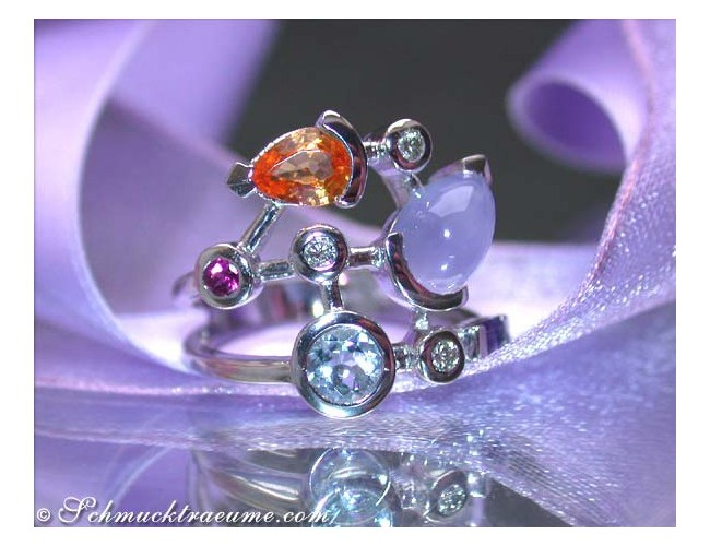Wonderful Multicolor Gemstone Ring with Diamonds