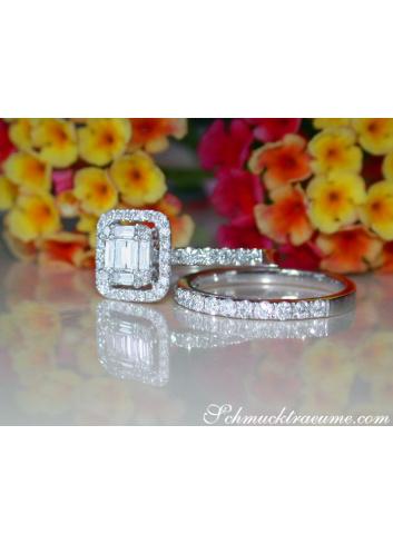Diamant Verlobungsring mit Beistecking