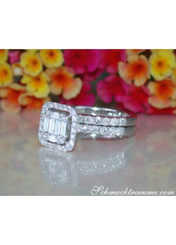 Exquisite Diamond Engagement Ring with Stackable Band