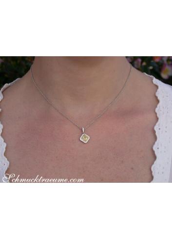 Precious Yellow Diamond Solitaire Pendant