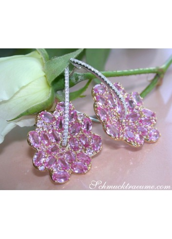 Magnificent Pink Sapphire Blossom Earrings
