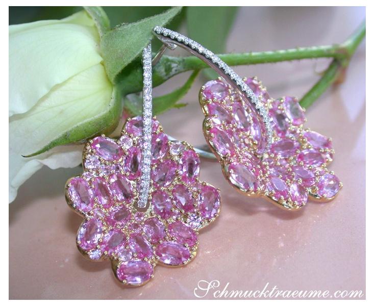 Rosa Saphir Ohrringe im Blüten Design