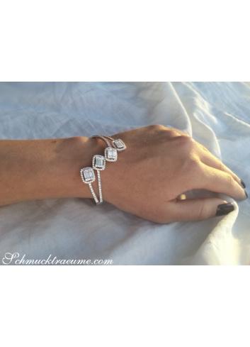 Unique Diamond Bangle with Baguette Diamonds