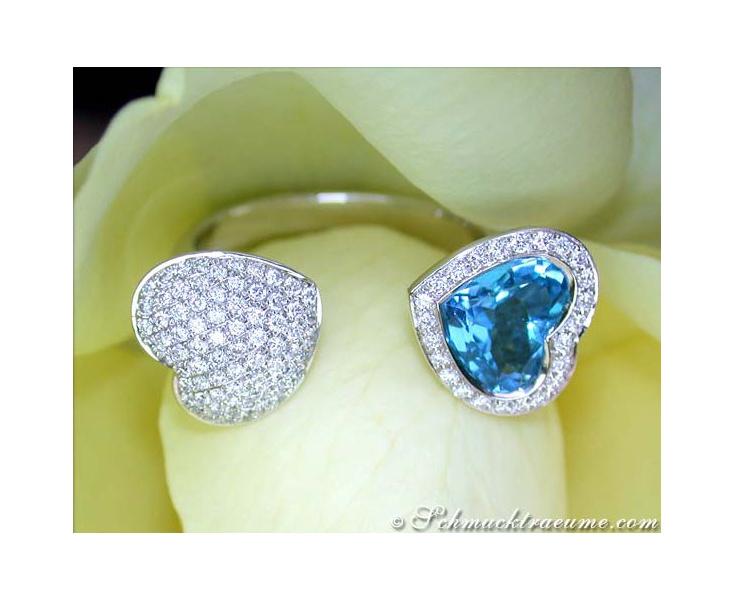 Blautopas Herz Brillanten Ring