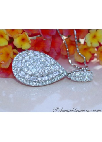 Unique Pear Pendant with Brilliant, Princess and Baguette Diamonds