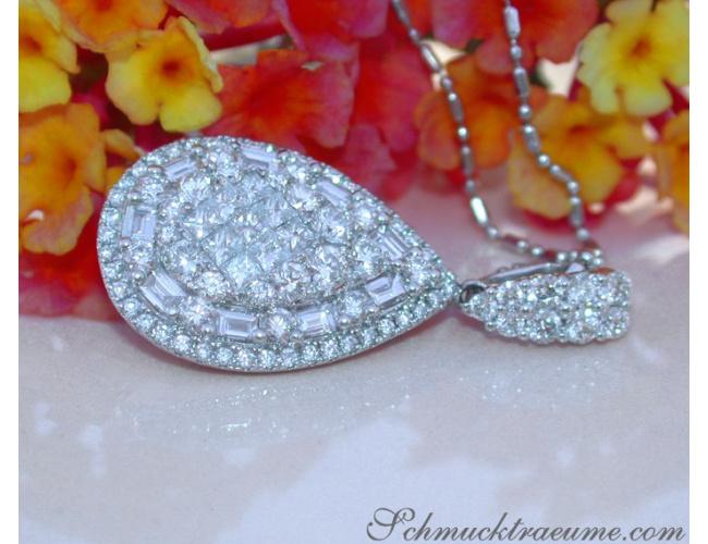 Unique Pear Pendant with Brilliant, Princess and Baguette Diamonds