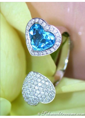 Feminine Blue Topaz Diamond Heart Ring