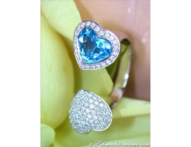 Feminine Blue Topaz Diamond Heart Ring