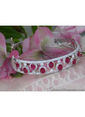 Dreamlike Ruby Bangle with Diamonds