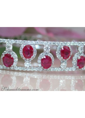 Dreamlike Ruby Bangle with Diamonds