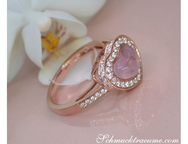 Enchanting Rose Quartz Heart Ring with Diamonds