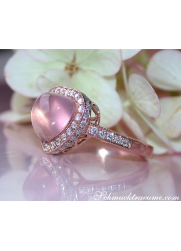 Enchanting Rose Quartz Diamond Heart Ring