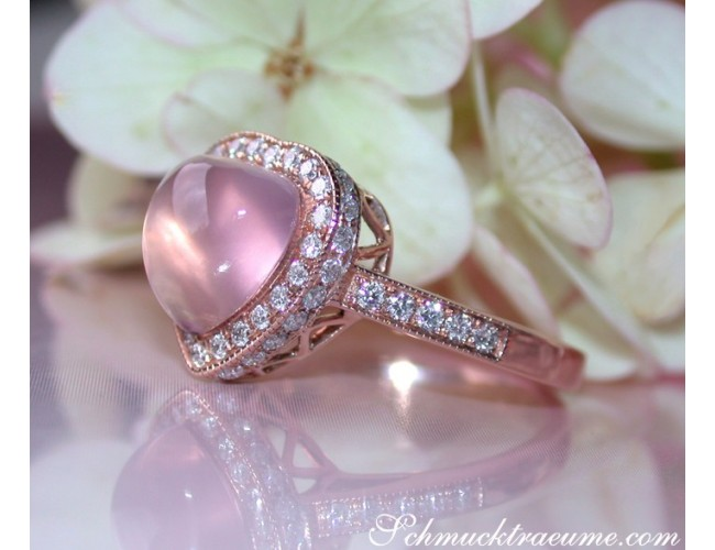 Rosenquarz Herz Ring mit Brillanten in Roségold 750