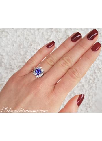 Tansanit Ring mti Diamanten