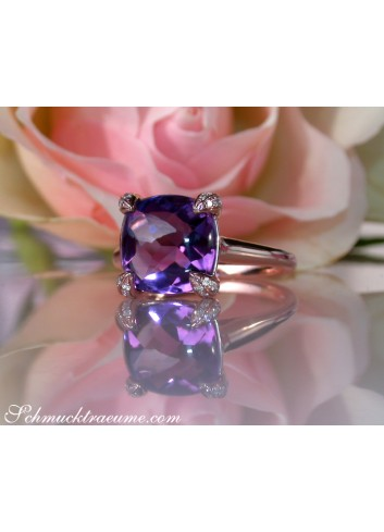Amethyst Ring mit Diamanten in Roségold