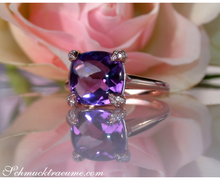 Amethyst Ring mit Diamanten in Roségold